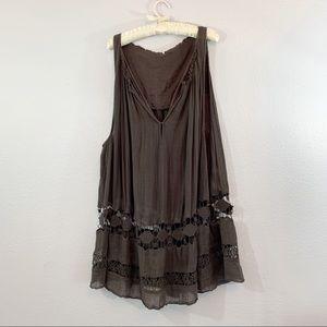 Free People Brown Gauze Sheer Crochet Panel Dress